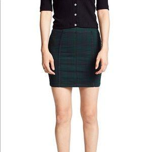 NWT Free People Dark Green Plaid Mini Skirt